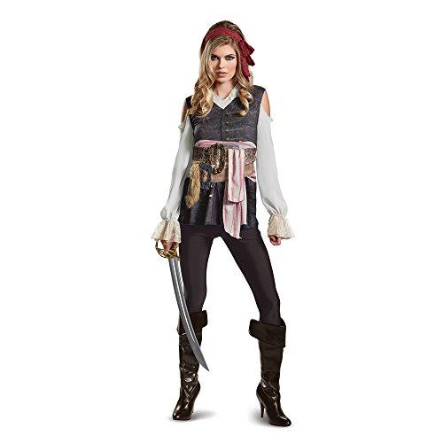 Disney Womens Plus Size POTC5 Captain Jack Sparrow Female Classic Adult Costume, Brown, Large