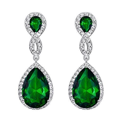 EVER FAITH Silver-Tone Austrian Crystal Zircon Wedding 8-Shaped Pierced Dangle Earrings Emerald Color ()