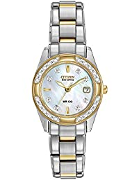 Womens Eco-Drive Diamond-Accented Watch with Date, EW1824-57D