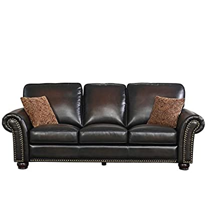 Amazon.com: Hawthorne Collections Bonded Leather Sofa in ...