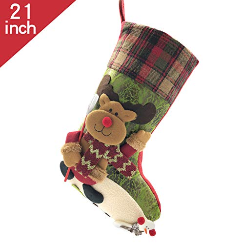 HBOffer 21 inch Plaid Christmas Stockings One Piece, Felt Large Plush 3D Reindeer Snowman Design Hanging Bags, Socks - Holiday Girls Boys Gift Party Decorations for Decor Xmas Tree,Mantel (Green) ()