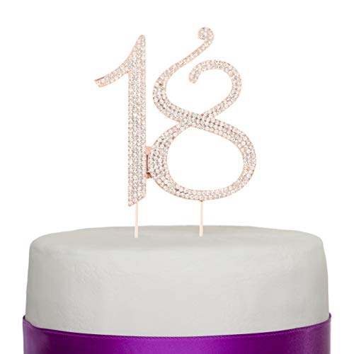 Ella Celebration 18 Cake Topper for 18th Birthday or Anniversary Rhinestone Number Party Decoration Supplies & Ideas (Rose -