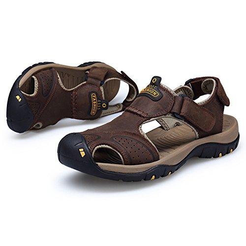 HGDR Walking Esterno Estivi Sandali Sportivi Sandali Chiusi Uomo Pelle Trekking Walking Calzature In Uomo Da Coffee Shoes Da Da ZxZnqOw4rv
