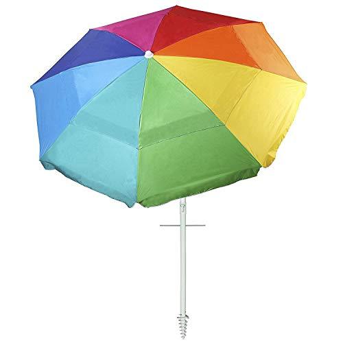 - AMMSUN New 8 Panels 7 Ft Sand Anchor Beach Umbrella with Tilt UV Protection Beach Umbrella Silver Coating Inside UPF50+ Rainbow