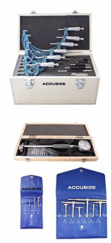 Accusize Industrial Tools Toolmaker Inspection Set, Telescope Gages, 0-6'' Micrometers and 2-6'' by .0005'' Dial Bore Gage, Egee-5006