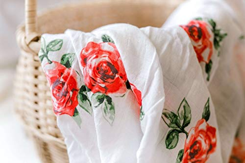 Red Rose - Muslin Swaddle Blanket for Newborn Baby Girl (Large - Bamboo/Cotton) 47x47 Pattern, Swaddling Wrap, Receiving,Burp Cloth,Stroller