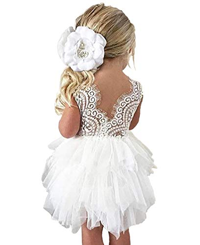 lymanchi Toddler Baby Lace Back Tiered Tutu Tulle Backless Flower Girls Dress Begie 110cm]()
