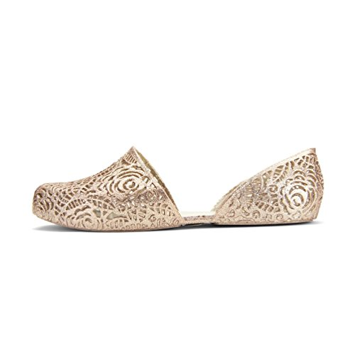 Chemistry® Y530 Womens New Stylish Easy Zig Zag Weaving Woven Bird Nest Mesh Cozy Candy Slip-on Jelly Ballet Sandal Flat Gold (5 B(M) US)