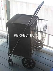 Amazon.com: DLUX Folding Shopping Cart Rolling Swivel Wheels Large Storage Basket Fold Flat