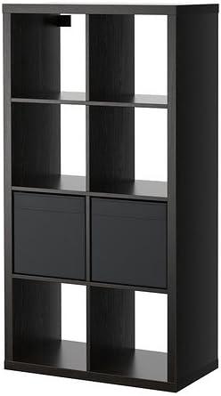 Ikea KallaxDrona Estantería con 2 Inserciones, Negro marrón 77x147 cm