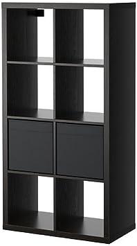 Ikea Kallax/Drona - Estantería con 2 Inserciones, Negro-marrón - 77x147 cm