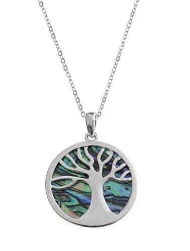 Mirabella BellaMira Abalone Paua Shell Tree of Life Necklace ()