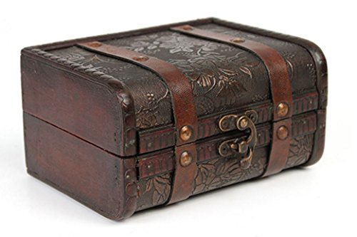 Treasure Box Trunk Box Antique Vintage Jewelry Storage Tr...