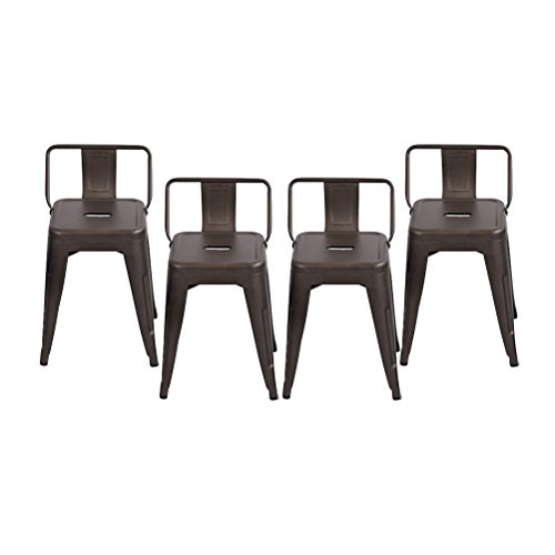 Changjie Furniture Pack of 4 Low Back Gunmetal Counter Bar Stool Indoor-Outdoor Bistro Cafe Bar Stool 18 inch, Low Back Rusty