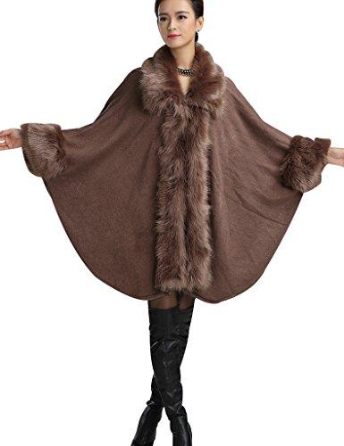 Aphratti Women's Faux Fox Fur Shawl Cloak Coat One Size Khaki
