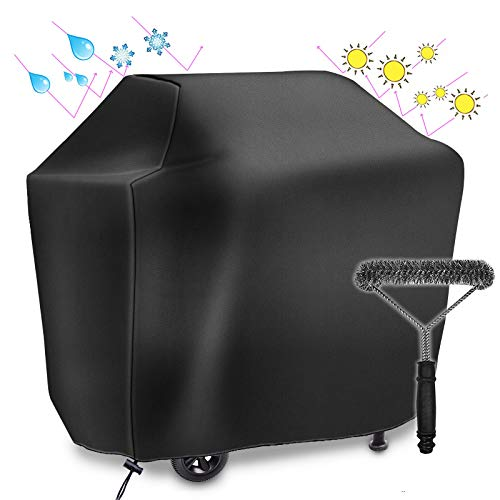 UKEER BBQ Grill Cover with Cleaning Brush Waterproof Rip Dust Resistant Weather Proof Outdoor Gas Grill Cover for Weber, Brinkmann, Char Broil, etc