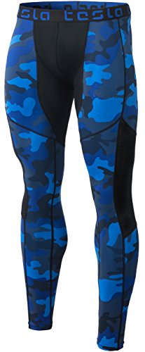 Tesla TM-MUP79-MBL_X-Small Men's Mesh-Panel Compression Pants Baselayer Cool Dry Sports Tights Leggings MUP79 by Tesla