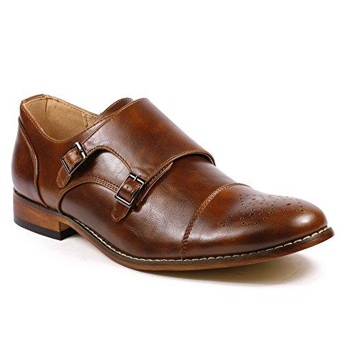 Faux Leather Shoes (Metrocharm MC100 Men's Perforated Cap Toe Double Monk Strap Dress Shoes (10, Dark)