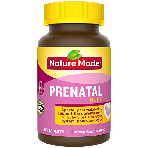 Nature Made Prenatal Tablets with Folic Acid, Iron, Iodine & Zinc, 90 Count (Packaging May Vary)