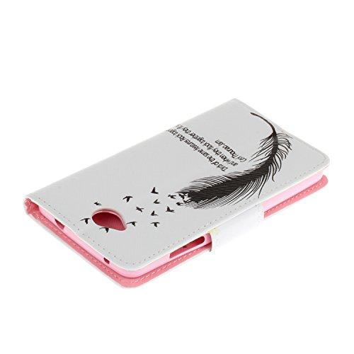 Ecoway Serie pintada Caja del teléfono de moda para Microsoft Lumia 650 N650 - Three feathers Black feathers