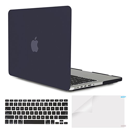 PUREBOX Soft-Touch Plastic Hard Case Cover for Macbook Pro 13 inch with Retina display NO CD-Rom (Model: A1502 A1425, Version 2015 2014 2013 2012) with Keyboard Cover and Screen Protector, Black