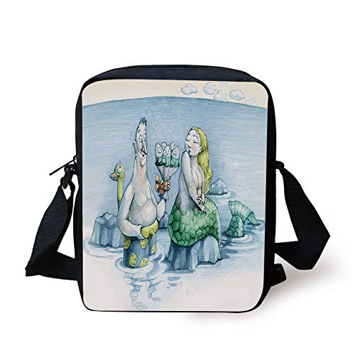 Mermaid Decor,Funny Man Gives a Mischievous Mermaid a Bouquet of Flowers Made From Fish, Print Kids Crossbody Messenger Bag Purse