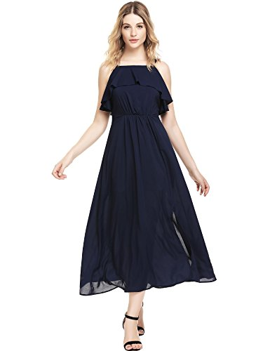 AL'OFA Women's Spaghetti Strap Chiffon Empire Waist Ruffle Neckline Dress Dark Blue XL