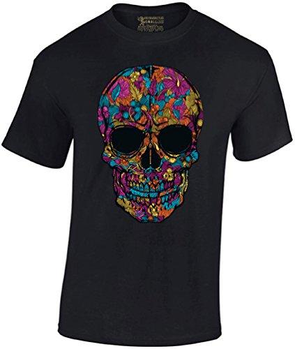 (Men's Black Flower Sugar Skull T-Shirt Day of The Dead Shirt XL Black)