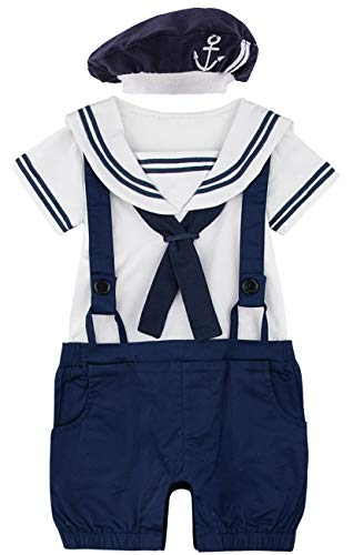 COSLAND Infant Baby Boys' Sailor Halloween Costume Romper (6-12 Months) Navy -