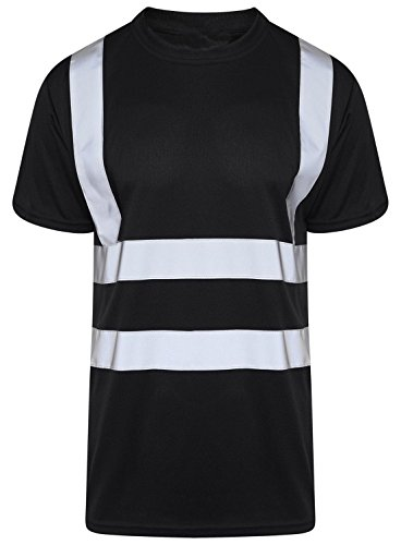 (Mens Adult Hi Vis Visibility Short Sleeve T Shirt Boys Crew Neck 2 Tone T Shirt #(Black Hi Viz Tshirt #3X Large#Mens))