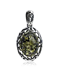 Sterling Silver Green Amber Oval Pendant