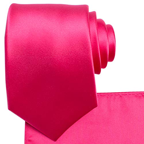 (KissTies Hot Pink Necktie Set Solid Satin Tie + Pocket Square + Gift Box)