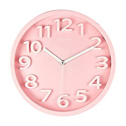Large Wall Clocks, Silent Non-Ticking 3D Numbers Contemporary Modern Design Home Office Decor Quiet Movement 13 Wall Clock (Pink)