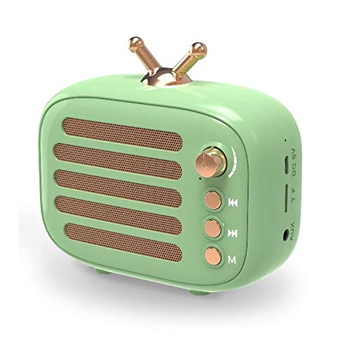 Wireless Stereo Retro Speaker, Dosmix Portable Bluetooth Vintage Speaker with Built-in Mic, 12 Hours Playtime, TF & Aux for Kitchen/Bedrooms/Party/Travel/Outdoor/Android/iOS (Green)