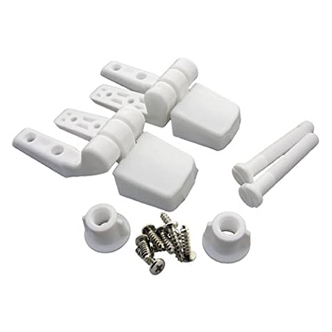 LASCO 14-1039 White Plastic Toilet Seat Hinge with Bolts and Nuts, Top Tightening, Fits Bemis Brand - Toil Replacement