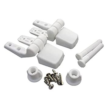 LASCO 14 1039 White Plastic Toilet Seat Hinge with Bolts and Nuts  Top Tightening