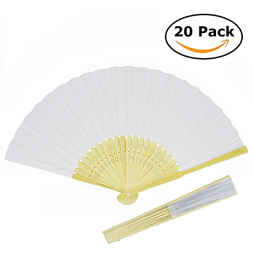 20 Pack Handmade Paper Folding Fans Bamboo Hand Held Fan for Gift Party Favors Home Office DIY (Beautiful Bamboo Hand Fan)