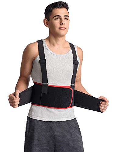(MAXAR Breathable Lower Back Support with Detachable Suspenders IBS-3000: Black X-Large)