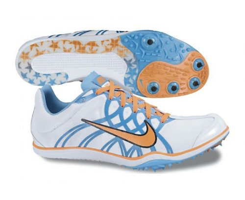 NIKE Zoom W 3 Damen-Lauf-Spikes, Weiß/Blau/Orange, 36.5