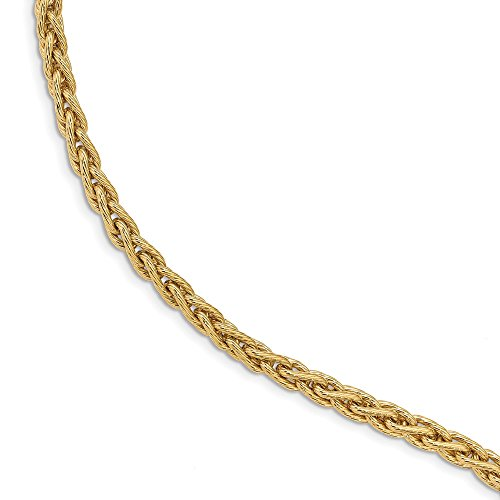 FB Jewels Solid 14K Yellow Gold Polished and Textured Fancy Link Bracelet ()