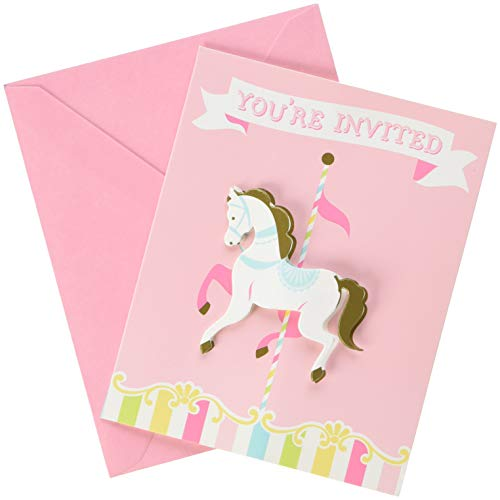 Creative Converting 329355 Carousel Invitations Party Supplies, 5.5 x 5 x 0.8