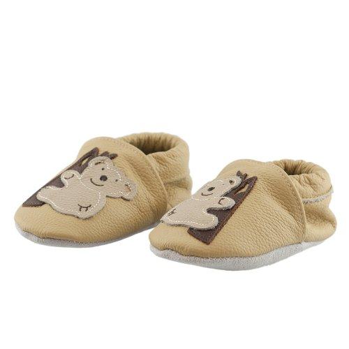 SmileBaby Premium Leder Lauflernschuhe für Jungen und Mädchen Krabbelschuhe Babyschuhe mit verschiedenen Motiven Beige Koala