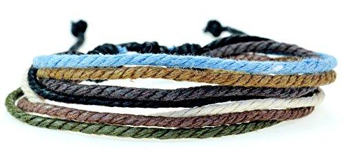Fashion Jewelry handmade Multi strand hemp cord surfer adjustable bracelet - blue yellow brown black white and green colors