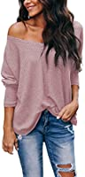 Albe Rita Women's Casual V-Neck Off Shoulder Batwing Sleeve Pullover Tops