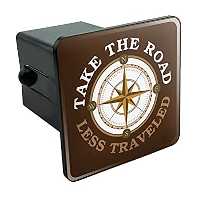 Graphics and More Take The Road Less Traveled Compass Tow Trailer Hitch Cover Plug Insert 2