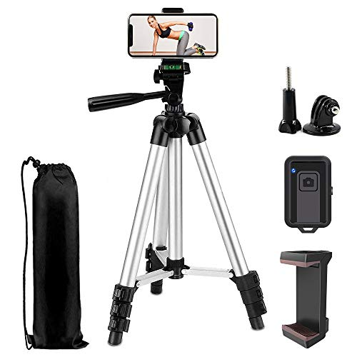 "Phone Tripod,LINKCOOL 42"" Aluminum Lightweight Portable Camera Tripod for iPhone/Samsung/Smartphone/Action Camera/DSLR with Phone Holder & Wireless Bluetooth Control Remote - Silver"