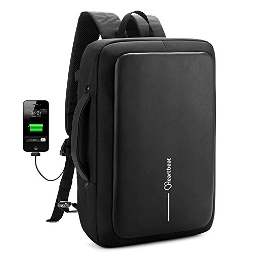 Heartbeat Anti-Theft Backpack & Briefcase TSA Friendly 15.6 Inch with USB Charging Port for Macbook Computer Backpack by Heartbeat
