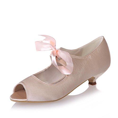 Pour yc Femmes Stretch Satin amp; Pointus Chaussures Pink Professionnels Vêtements 0700 Mariage L De 14 SICqCd