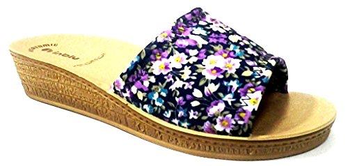 INBLU - Zapatillas de estar por casa de tela para mujer Azul turquesa 39