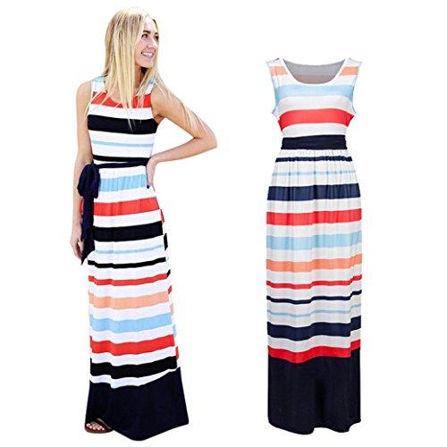 Lamolory Womens Pants, Striped Tunic Sleeveless Casual Swing Long Maxi Dress With Belt - Plus Perks Sun